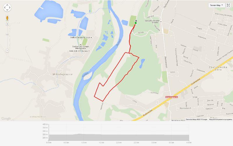 trasa mini maratonu w Zbylitowskiej Górze
