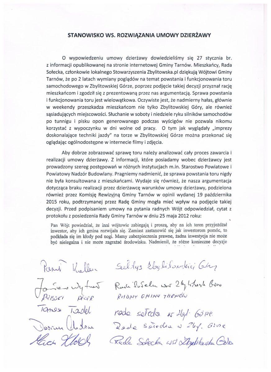 Stanowisko ws. rozwiązania umowy dzierżawy